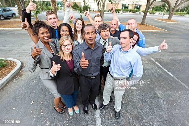 Company teamwork thumbs up
