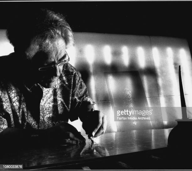 Company that acid etches glass as well as sand blasted glassWally Cooper preparing glass to be sand blasted December 22 1989