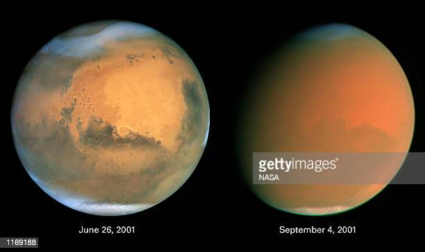 A comparison image of the planet Mars reveals October 11 2001 that a global dust storm has engulfed the planet The storm is comprised of fine dust...