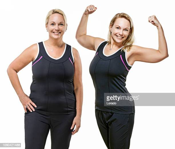 comparison of overweight middle aged woman after dieting - dieting stock pictures, royalty-free photos & images
