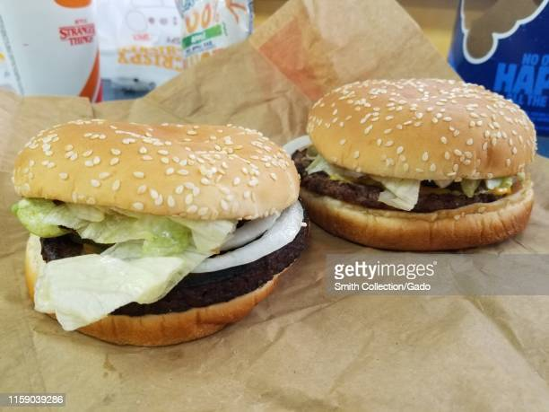 Comparison of plantbased Impossible Whopper with traditional Whopper during a limited market test run in the San Francisco Bay Area at a Burger King...
