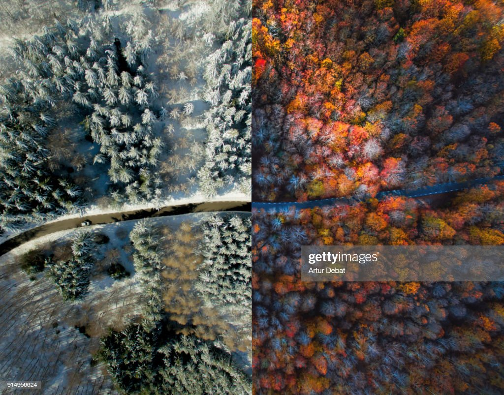 Comparison picture taken from drone with half autumn and half winter landscape. : Stock Photo