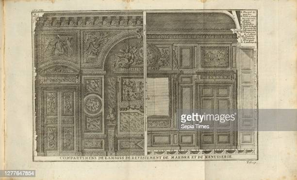 Compartimens of marble and carpentry paneling, Lambris, tab. 131, after p. 334, Augustin-Charles d'Aviler, Vignola, Michelangelo, Leonhard Christoph...