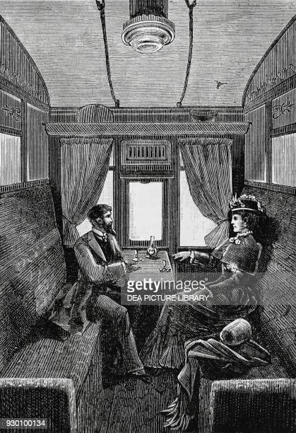 Compartment on the Orient Express engraving, 19th century.