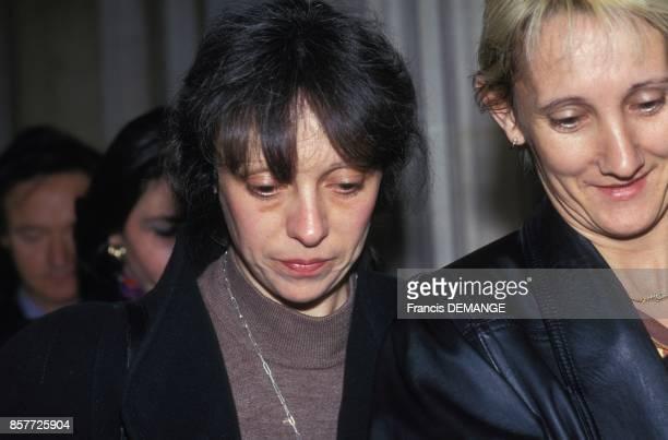 Comparution de Christine Villemin lors du proces de son epoux JeanMarie Villemin pour le meurtre de Bernard Laroche le 24 novembre 1993 a Dijon France