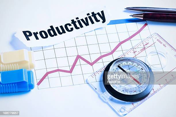 """Compass and pens rest on """"Productivity"""" headline with rising graph"""