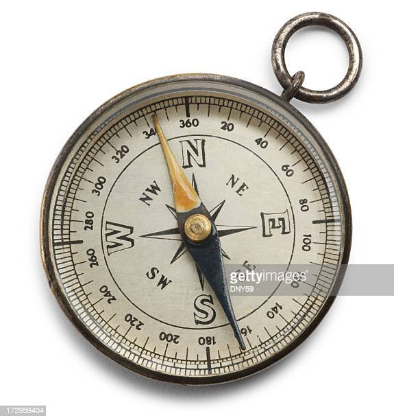 compass isolated on a white background - north stock pictures, royalty-free photos & images