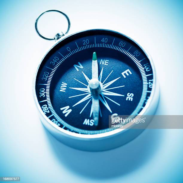 compass, isolated on white - east stock photos and pictures