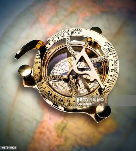 compass on globe