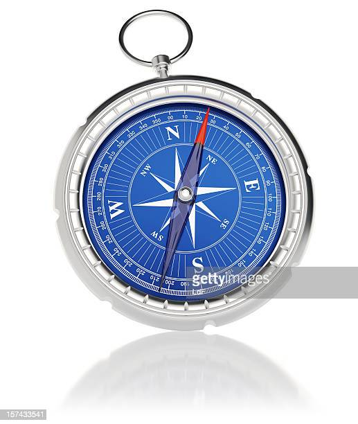 Compass on white with reflection