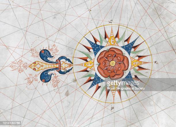 Compass rose from a portolan chart Detail from Charles Massey's portolan chart 'A draft of the Bay of Coche and R Nagor on the Coast of Guzzaratt'...