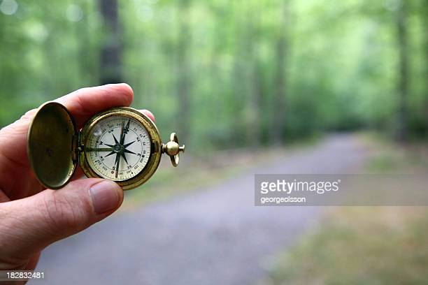 compass with blurred woods trail - north stock pictures, royalty-free photos & images