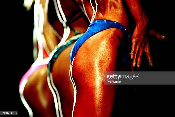 Compeditors pose in the Novice Womens Figure at the New Zealand Invitational Bodybuilding,Womens Fitness and Figure Champs held at the Sky City...