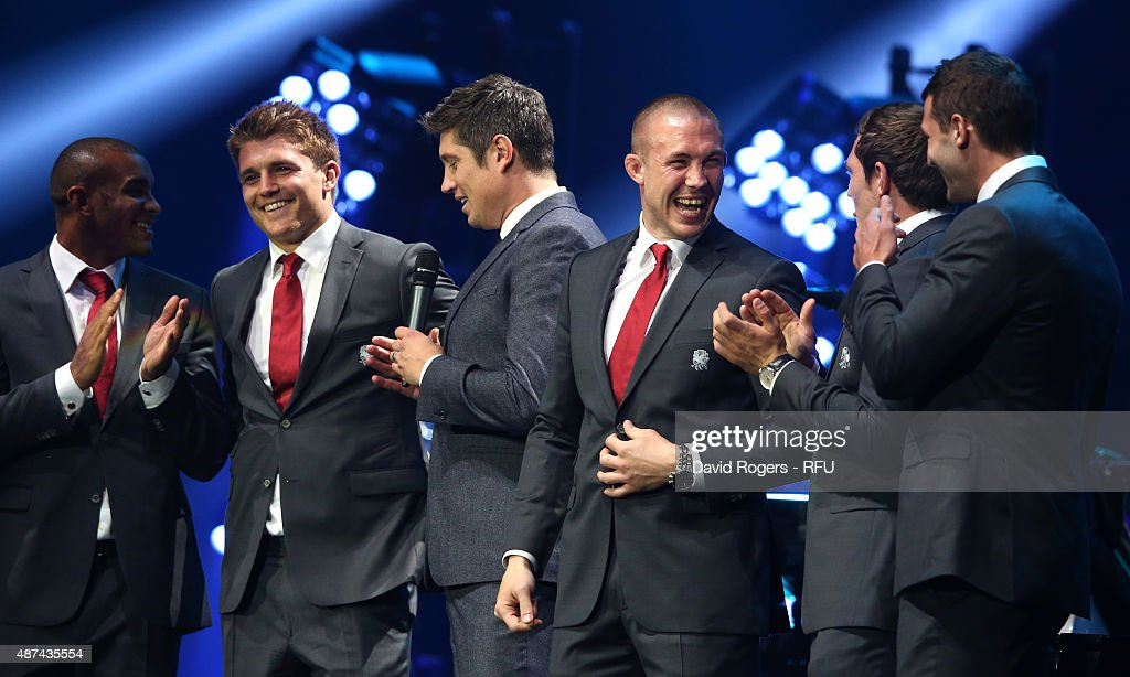 Compere Vernon Kay chats with England players (L-R), Jonathan Joseph, Henry Slade; Mike Brown, Alex Goode and Jonny May during the Wear The Rose Live official England send off event hosted by 02 at The O2 Arena on September 9, 2015 in London, England. The Event saw over 14,500 England fans showing their support for the team.