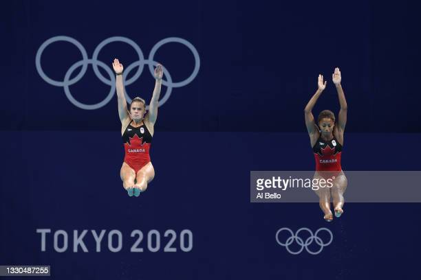 Compete during Women's 3m Springboard Finals on day two of the Tokyo 2020 Olympic Games at Tokyo Aquatics Centre on July 25, 2021 in Tokyo, Japan.