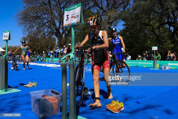 competes during the Women`s Triathlon Event at Green Park on October 07 2018 in Buenos Aires Argentina
