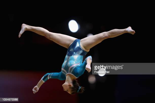 competes in the Women's Balance Beam Qualification during day four of the 2018 FIG Artistic Gymnastics Championships at Aspire Dome on October 28...