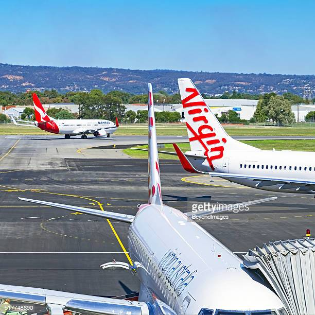 Competing airlines Qantas and Virgin at Adelaide airport