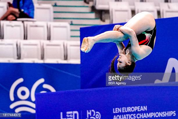 Competing at the Team Event Final during the LEN European Aquatics Championships 1m Springboard Preliminary at Duna Arena on May 11, 2021 in...