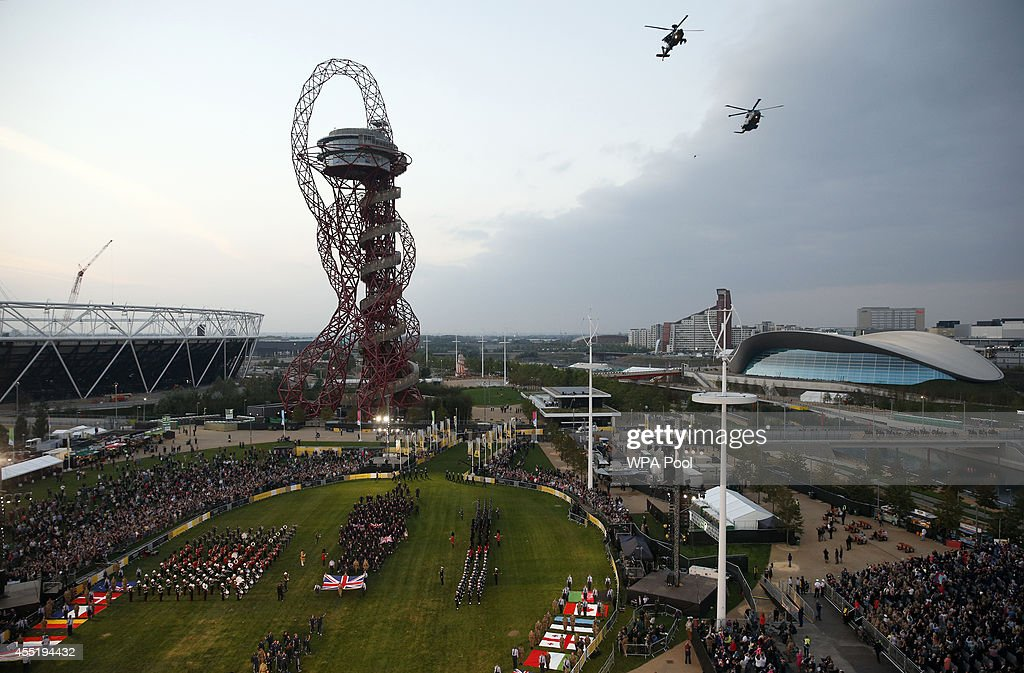 Competing countries make their way onto the field during the opening ceremony of the Invictus Games at Queen Elizabeth II Park on September 10, 2014 in east London, England. The Invictus Games which will run from September 10-14, is an international sporting event for wounded servicemen and women from 13 countries.