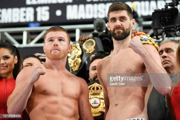 Competing for the WBA Super Middleweight title Canelo Alvarez of Mexico and Rocky Fielding of England pose together on the scale during the official...