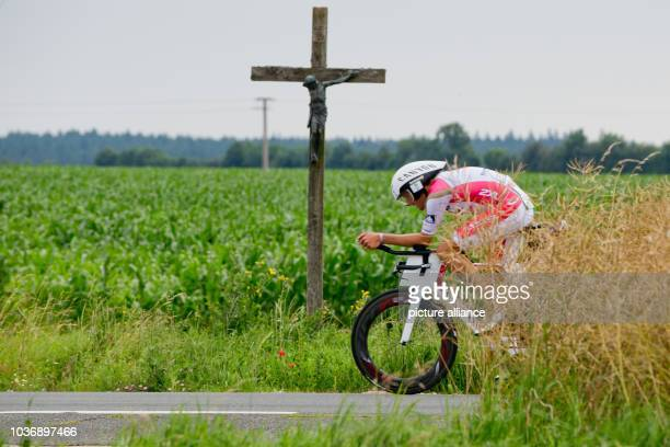 Competing in the Datev Challenge Roth German triathlete Jan Frodeno is seen cycling near Greding Bavaria Germany 17 July 2016 In the 15th Roth race...