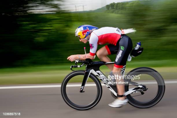 Competing in the Datev Challenge Roth Swiss triathlete Daniela Ryf is seen cycling at Heideck Bavaria Germany 17 July 2016 In the 15th Roth race...
