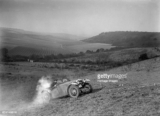 MG J2 competing in the London Motor Club Coventry Cup Trial Knatts Hill Kent 1938 Artist Bill BrunellMG J2 847 cc Vehicle Reg No PO8865 Event Entry...