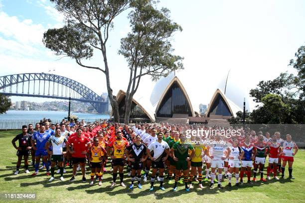 Competing nations pose for a group photo during the Rugby League World Nines media opportunity at the Royal Botanic Gardens on October 16 2019 in...