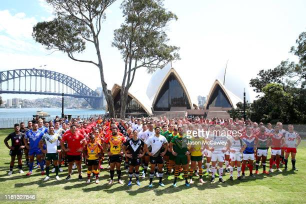 Competing nations pose for a group photo during the Rugby League World Nines media opportunity at the Royal Botanic Gardens on October 16, 2019 in...