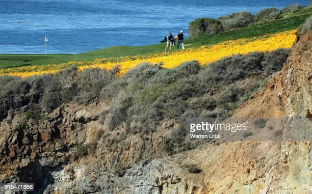 Competirors play a practice round ahead of the ATT Pebble Beach ProAm on the Pebble Beach Golf Links on February 7 2018 in Pebble Beach California