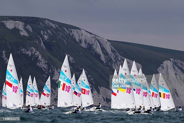 Competition begins in the Men's Laser Sailing on Day 5 of the London 2012 Olympic Games at the Weymouth Portland Venue at Weymouth Harbour on August...
