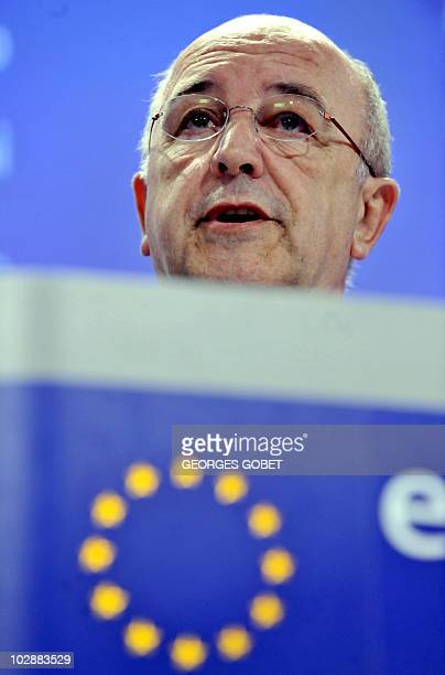 EU competition commissioner Joaquín Almunia gives a press conference on July 14 2010 at EU headquarters in Brussels Europe's competition watchdog on...