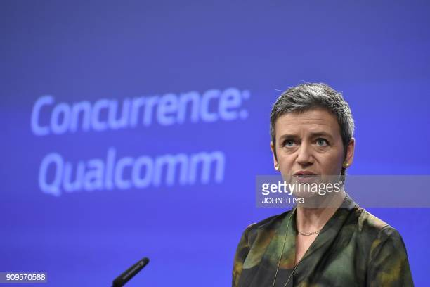 EU Competition Commissioner Margrethe Vestager gives a joint press conference at the EU Headquarters in Brussels on January 25 2018 as the EU hit US...