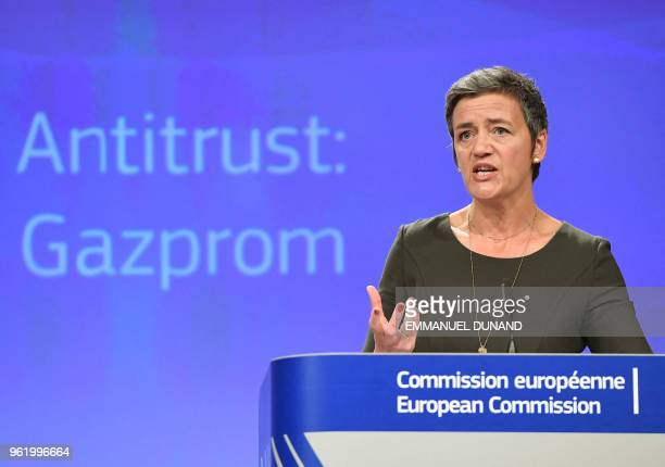 EU Competition Commissioner Margrethe Vestager gives a press conference at the European Commission in Brussels on May 24 2018 The EU on May 24...