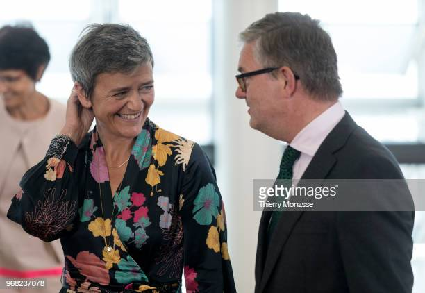 Competition Commissioner Margrethe Vestager talks with the EU Security Union Commissioner Julian King during at a familly photo during a visit in the...