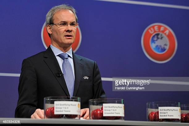 Competition Director Giorgio Marchetti proceeds to the UEFA 2014/15 Europa League third qualifying rounds draw at the UEFA headquarters, The House of...