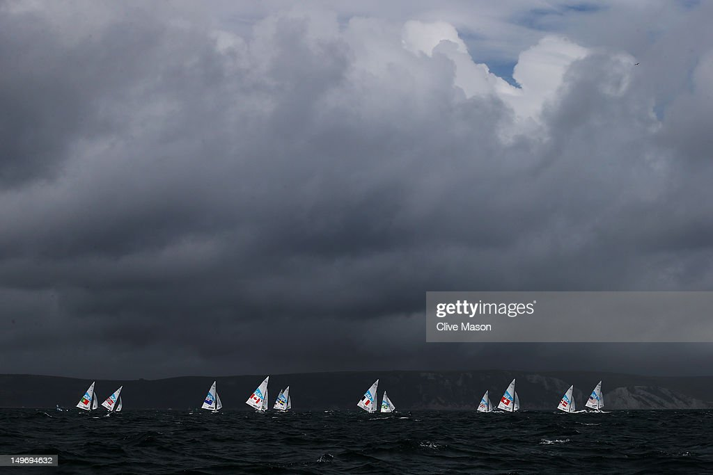 Competition gets underway in the Men's Star Sailing class on Day 6 of the London 2012 Olympic Games at the Weymouth & Portland Venue at Weymouth Harbour on August 2, 2012 in Weymouth, England.