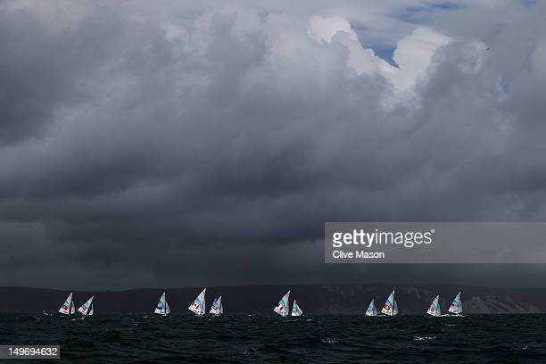 Competition gets underway in the Men's Star Sailing class on Day 6 of the London 2012 Olympic Games at the Weymouth Portland Venue at Weymouth...