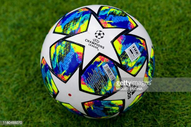 Competition's official ball is pictured prior the UEFA Champions League Group C football match Atalanta Bergamo vs Manchester City on November 6,...