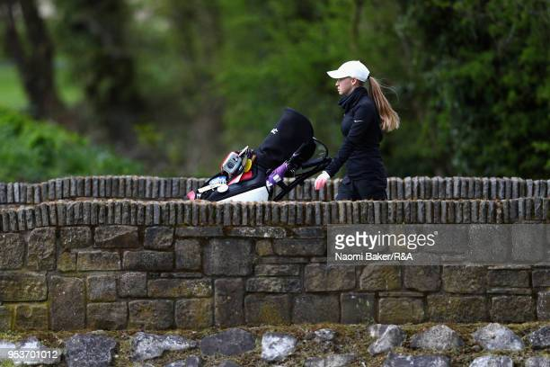 A competitior walks down the 2nd fairway during the final round of the Girls' U16 Open Championship at Fulford Golf Club on April 29 2018 in York...