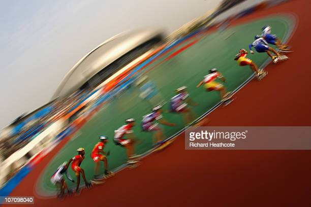 Competitiors in action during the Roller Sports Men's 10000m PointsElimination Race at the Guangzhou Velodrome during day twelve of the 16th Asian...