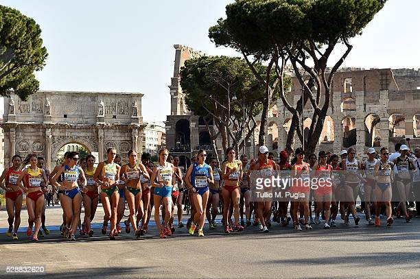 Competitiors in action during the woman's 10Km Race Walk at IAAF World Race Walking Team Championship Rome 2016 on May 7, 2016 in Rome, Italy.