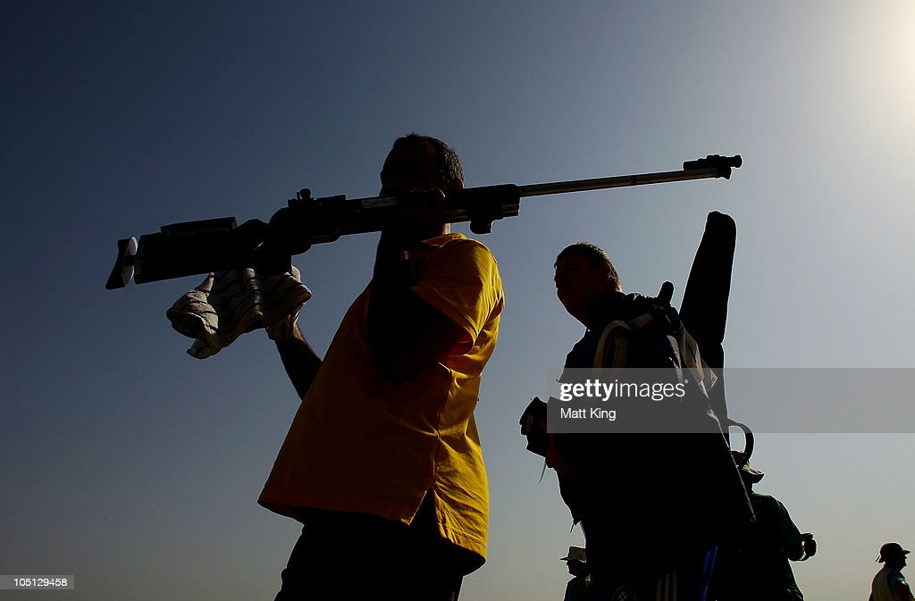 Competitiors leave the arena in the 500 yards Singles Full Bore Open at the CRPF Campus, Kadarpur during day seven of the Delhi 2010 Commonwealth Games on October 10, 2010 in Gurgaon, India.