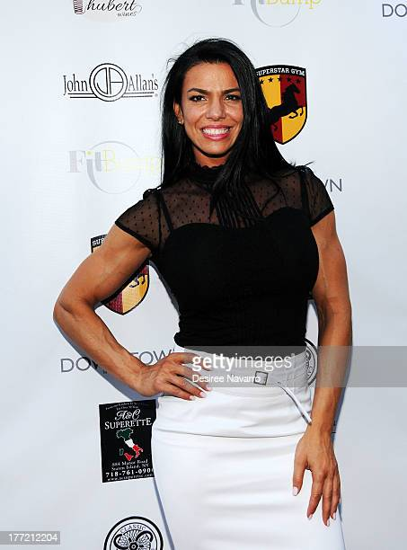 Competitive bodybuilder Mona Muresan attends the Canali System US Debut at Superstar Gym on August 21 2013 in New York City
