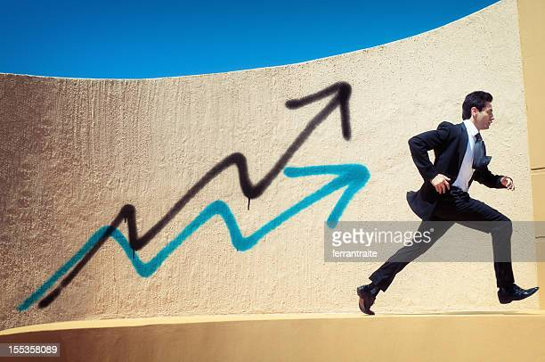 Competitive Businessman Running