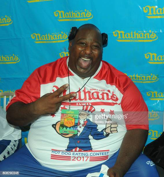 Competitive eater Eric Booker at the 2017 Nathans Famous 4th Of July International Hot Dog Eating Contest in Coney Island on July 4 2017 in the...