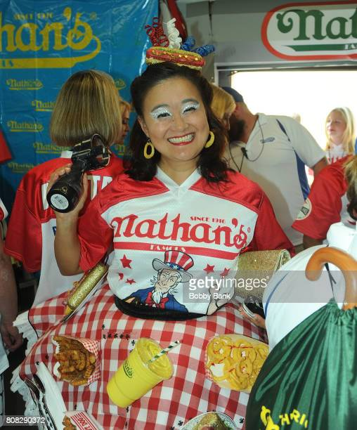 Competitive eater Mary Bowers at the 2017 Nathans Famous 4th Of July International Hot Dog Eating Contest in Coney Island on July 4 2017 in the...