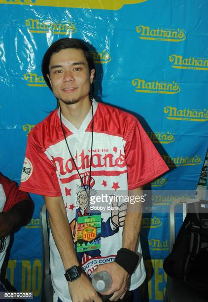 Competitive eater Matt Stonie at the 2017 Nathans Famous 4th Of July International Hot Dog Eating Contest in Coney Island on July 4 2017 in the...