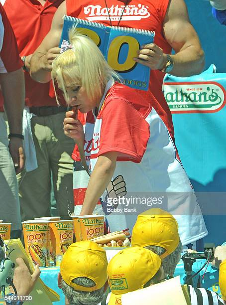 Competitive eater Miki Sudo wins women's division of the 2016 Nathans Famous 4th Of July International Hot Dog Eating Contest at Coney Island on July...